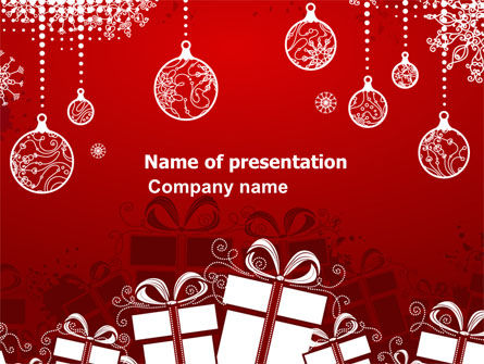 Red New Year Theme PowerPoint Template, 07018, Holiday/Special Occasion — PoweredTemplate.com