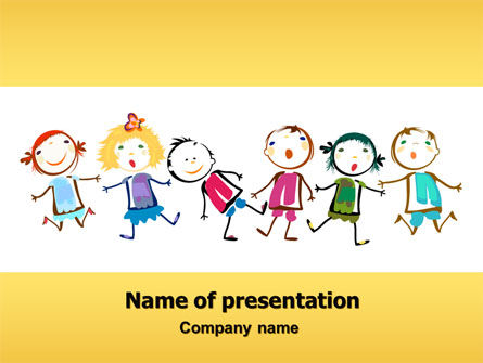 funny kids powerpoint template 07045 education training poweredtemplatecom - Art Templates For Kids