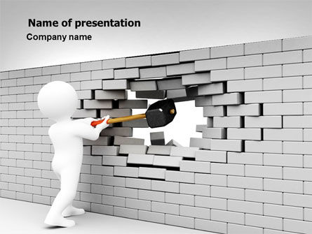 Breaking the Wall PowerPoint Template, 07058, Business Concepts — PoweredTemplate.com