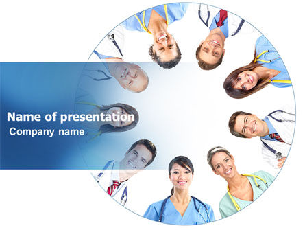 People: Medical Personnel Circle PowerPoint Template #07059