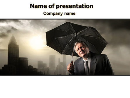 Consulting: Umbrella Man PowerPoint Template #07069