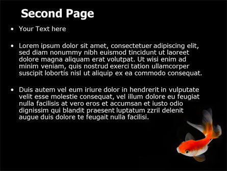 Goldfish On The Black Background PowerPoint Template, Slide 2, 07074, Animals and Pets — PoweredTemplate.com
