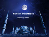 Religious/Spiritual: Mosque In Moonlight PowerPoint Template #07076