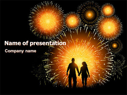 Holiday/Special Occasion: Beautiful Fireworks PowerPoint Template #07099