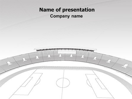 Football Stadium In Light Gray Colors PowerPoint Template