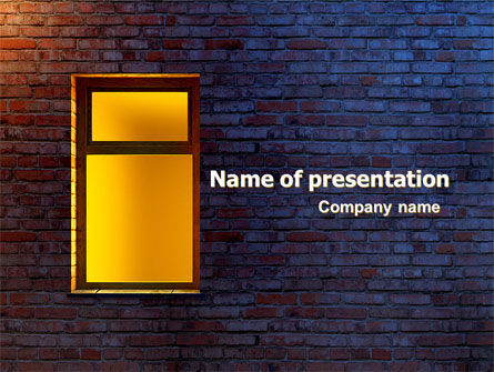 Yellow Window On The Brick Wall PowerPoint Template