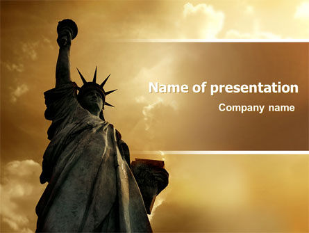 Liberty Statue PowerPoint Template, 07160, America — PoweredTemplate.com