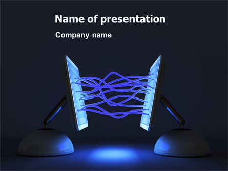 Interacting Computers PowerPoint Template, 07168, Technology and Science — PoweredTemplate.com