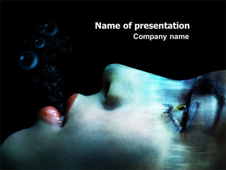 Underwater Lady PowerPoint Template, 07192, Art & Entertainment — PoweredTemplate.com