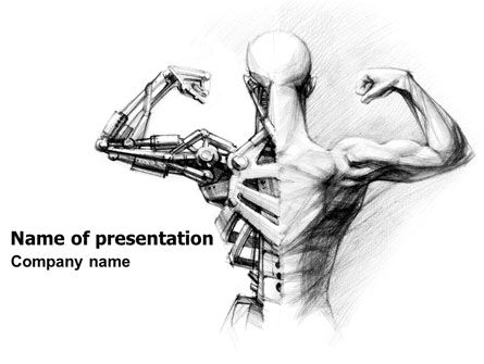 Technology and Science: Artificial Skeleton PowerPoint Template #07205