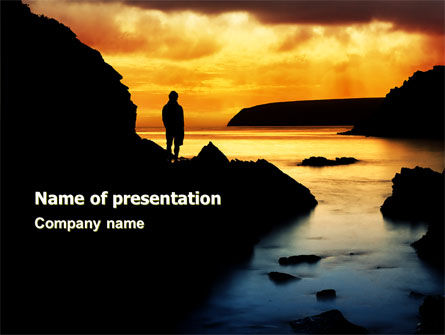 Sunset Beach PowerPoint Template, 07211, Nature & Environment — PoweredTemplate.com