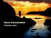 Nature & Environment: Sonnenuntergang am strand PowerPoint Vorlage #07211