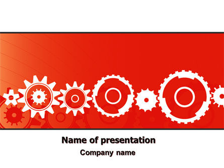Geared Red PowerPoint Template