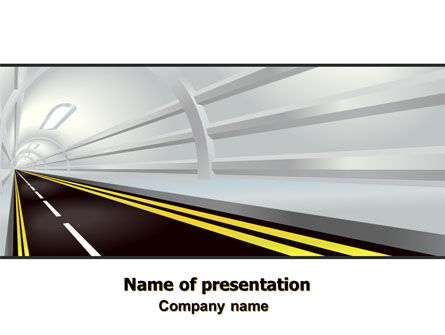 Tunnel Road PowerPoint Template, 07222, Construction — PoweredTemplate.com