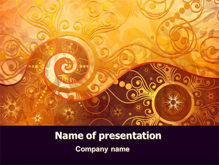 Yellow Ornaments Theme PowerPoint Template, 07241, Abstract/Textures — PoweredTemplate.com