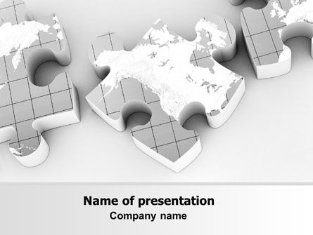 Global: Continents As Puzzle PowerPoint Template #07259