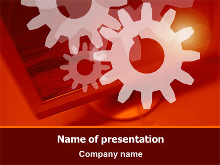 Red Gears PowerPoint Template, 07275, Consulting — PoweredTemplate.com