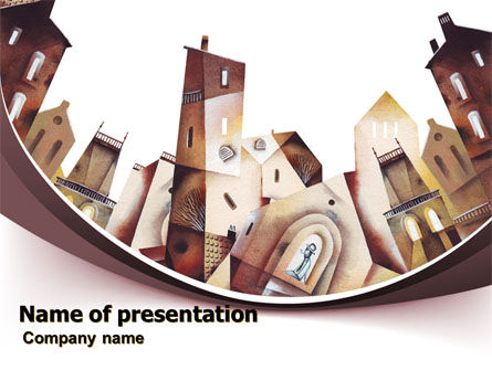 Art & Entertainment: Old City Art Drawing PowerPoint Template #07276
