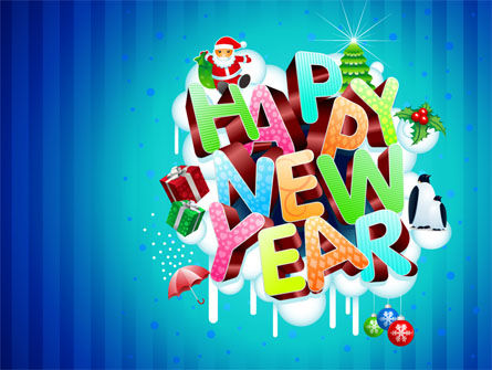 New Year Card Free Powerpoint Template Backgrounds 07282