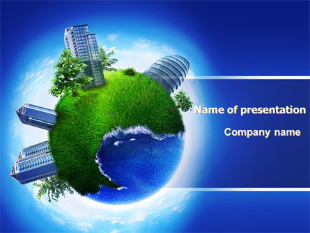 Big City Building PowerPoint Template, 07288, Nature & Environment — PoweredTemplate.com