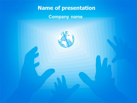 Reaching for Earth PowerPoint Template, 07289, Global — PoweredTemplate.com