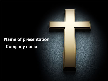 Cross In The Dark PowerPoint Template, 07291, Religious/Spiritual — PoweredTemplate.com