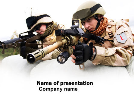 Soldiers In Iraq PowerPoint Template, 07321, Military — PoweredTemplate.com