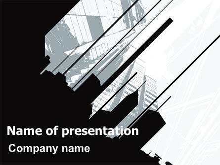 Abstract Skyscraper Theme PowerPoint Template, 07344, Construction — PoweredTemplate.com