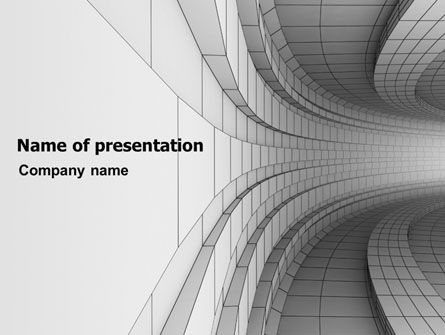 3D: Gray Turn PowerPoint Template #07366