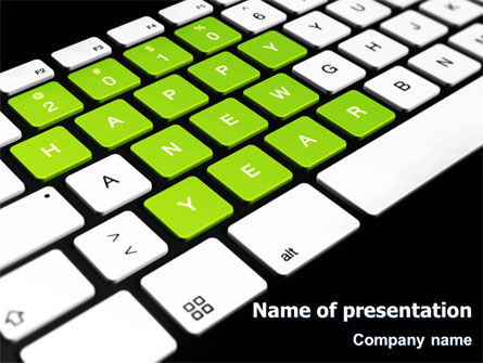 New Year Keyboard PowerPoint Template, 07367, Holiday/Special Occasion — PoweredTemplate.com