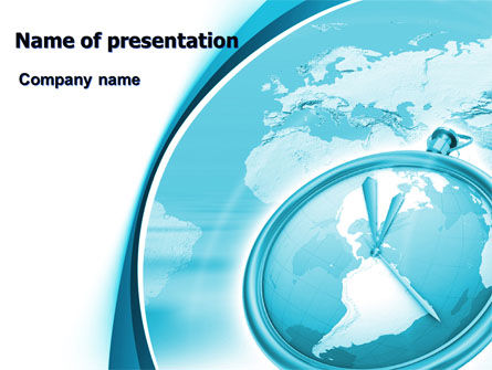 Clock Aqua Free PowerPoint Template, 07369, Global — PoweredTemplate.com