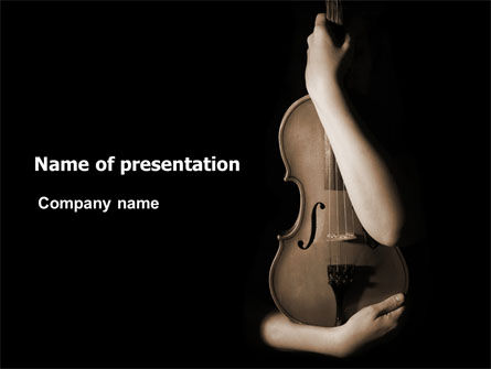Violin In Lady's Hands PowerPoint Template, 07373, Art & Entertainment — PoweredTemplate.com