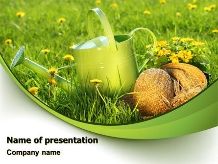 Agriculture: Watering Pot PowerPoint Template #07376