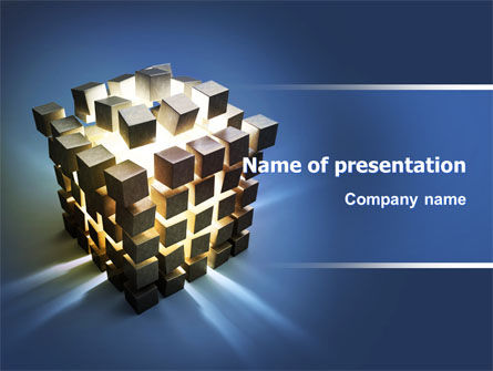 Cube Pieces Concept PowerPoint Template, 07391, 3D — PoweredTemplate.com