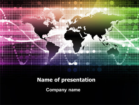 Global: Glowing World Map PowerPoint Template #07395
