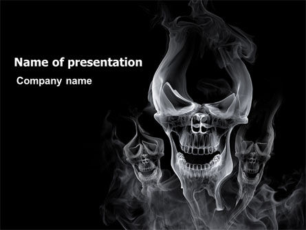 Smoke Skulls PowerPoint Template, 07402, General — PoweredTemplate.com