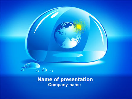 Nature & Environment: Blue Water Drop PowerPoint Template #07414
