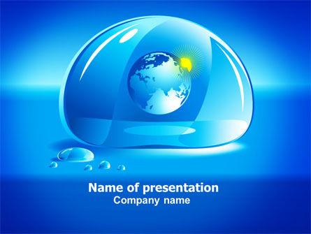 Blue Water Drop PowerPoint Template, 07414, Nature & Environment — PoweredTemplate.com