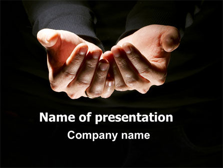 Cupped Hands PowerPoint Template, 07417, Business — PoweredTemplate.com