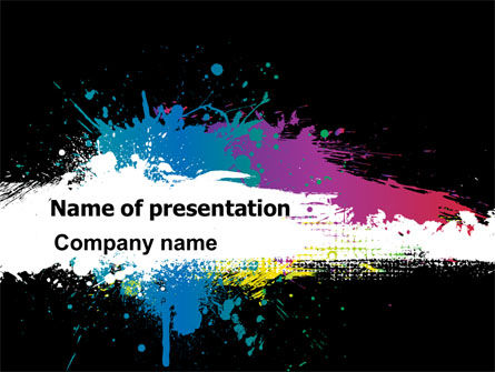 Paint Stains PowerPoint Template, 07420, Art & Entertainment — PoweredTemplate.com