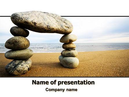 Religious/Spiritual: Balanced Stone Gate PowerPoint Template #07427