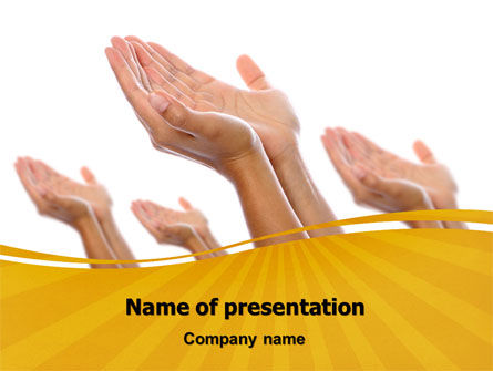 Begging Hands PowerPoint Template, 07442, Religious/Spiritual — PoweredTemplate.com