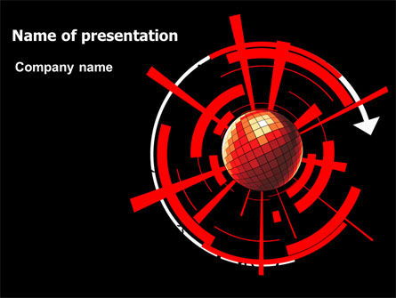 Business: Red Sphere On A Black Background PowerPoint Template #07458