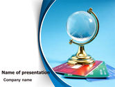 Careers/Industry: Crystal Globe At The Plastic Cards PowerPoint Template #07479