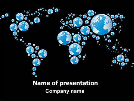 Global: Bubble World Map PowerPoint Template #07485