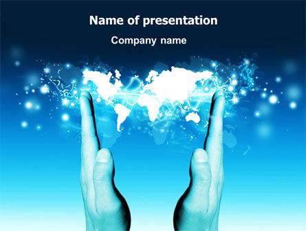 Teal World In Hands PowerPoint Template