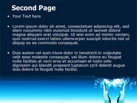 Teal World In Hands PowerPoint Template, Slide 2, 07487, Global — PoweredTemplate.com