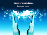 Global: Teal World In Hands PowerPoint Template #07487