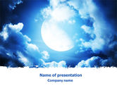 Nature & Environment: Full Moon In The Clouds PowerPoint Template #07497