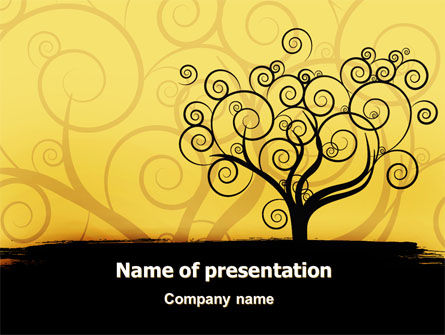 Silhouette Of Tree On The Yellow Background PowerPoint Template, 07507, Art & Entertainment — PoweredTemplate.com